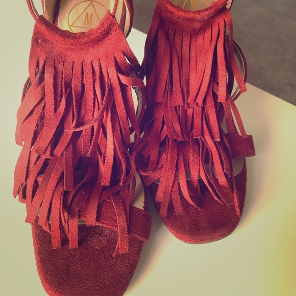 Misguided barely there fringe heels